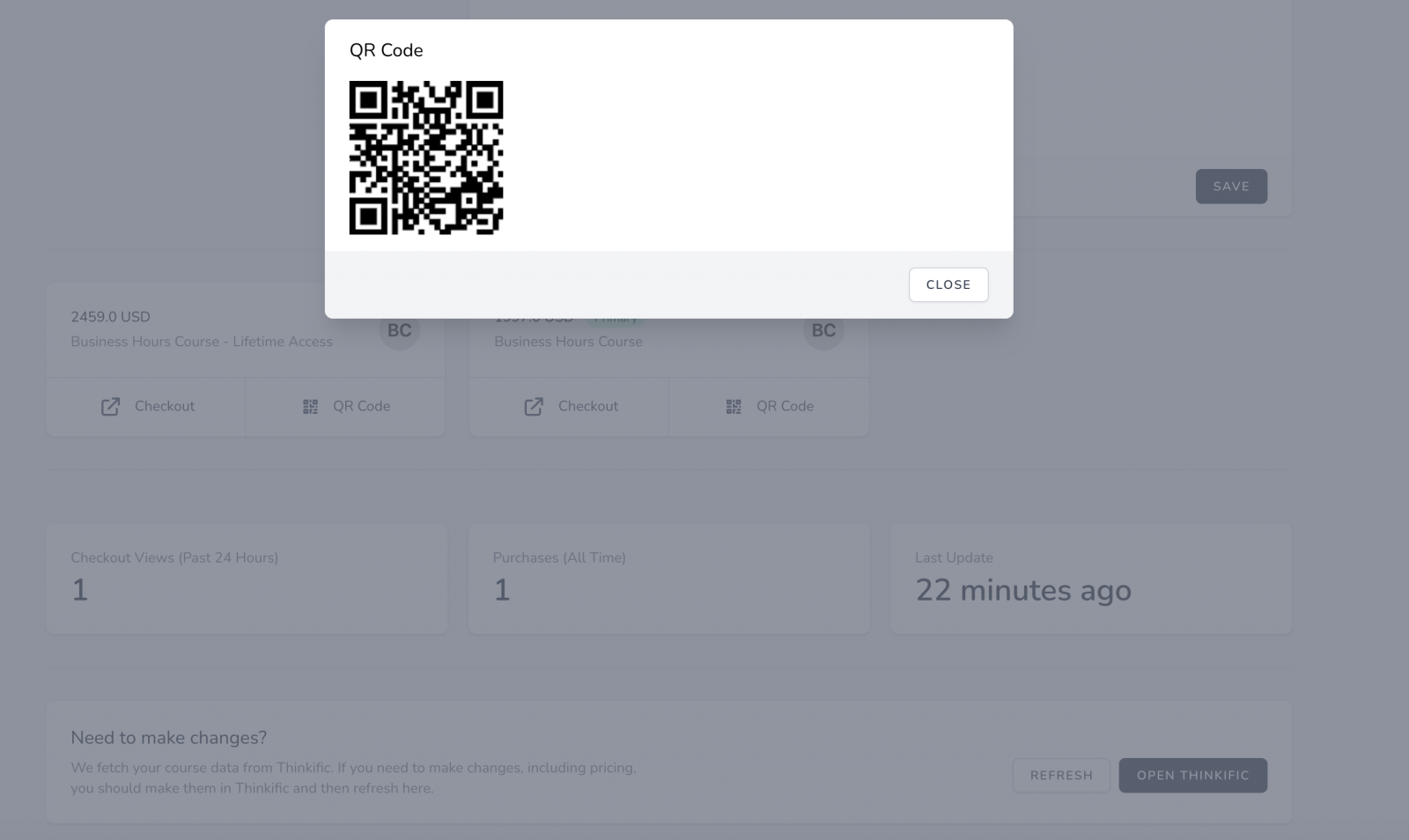 wechat qrcode thinkific checkout